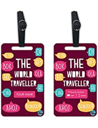 Personalized Designer Luggage Travel Baggage Tags From Nutcase - SET OF 2 TAGS - The World Traveller