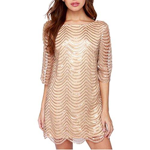 LAEMILIA Damen Kleid Clubwear mit Pailletten Aushöhlen Rückenfrei Elegant Partykleid Cocktailkleid...