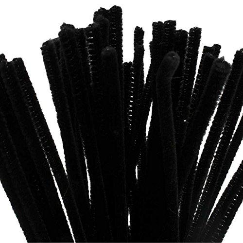 (BUDILA® 50x Chenilledraht Biegeplüsch schwarz 6mm dick - 30cm lang)