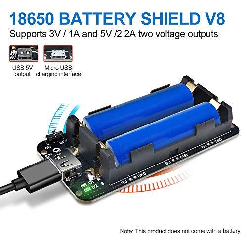 diymore 18650 Battery Shield V8 3V 5V Micro-USB-Anschluss Typ A USB mit Kabel für Raspberry Pi Arduino ESP32 ESP8266 WiFi V8-micro-usb