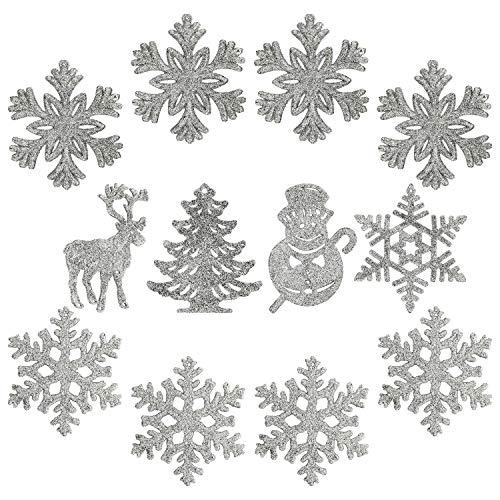 com-four® 12x Glitzeranhänger für den Weihnachtsbaum - glitzernder Christbaumschmuck - Weihnachtsdeko mit verschiedenen Motiven [Motivauswahl variiert] (12-teilig - 8.5-11cm)