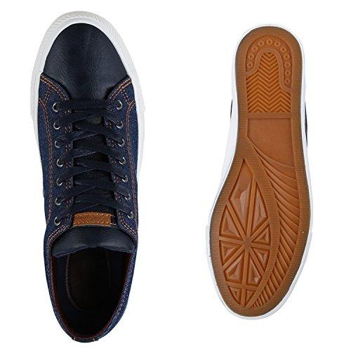 Herren Sneakers Denim Jeans Sportschuhe Schnürer Schuhe Dunkelblau