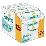 Pampers, Salviette umidificate Sensitive, confezione mensile doppia, 12 confezioni da 56 pz. (672 salviette)