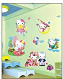 Hallo Kitty 3d Effekt Wandsticker Hello Kitty Wanddekoration Kinder Wandbild Aufkleber
