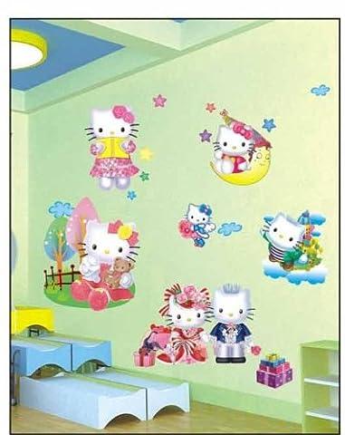 Hallo Kitty 3d Effekt Wandsticker Hello Kitty Wanddekoration Kinder Wandbild Aufkleber