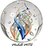 Traumkugel- Briefbeschwerer medium: Motiv bunte Spirale (Feng Shui) mit kleinen...