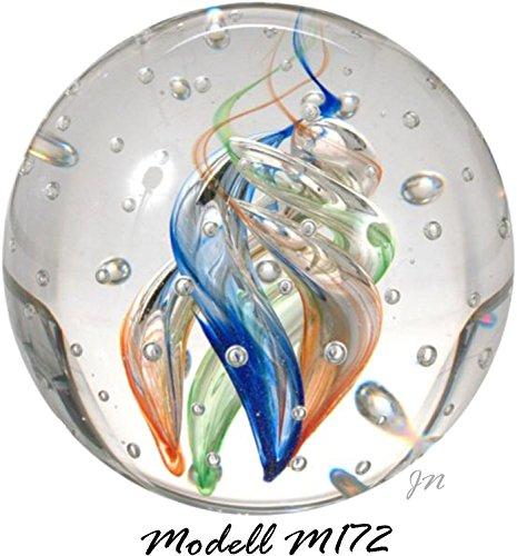 Traumkugel- Briefbeschwerer medium: Motiv Bunte Spirale (Feng Shui) mit kleinen Blasen