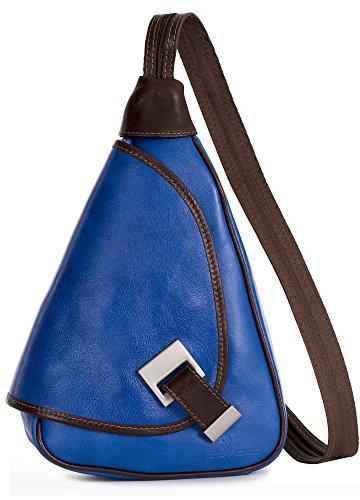 LiaTalia kleine italienische Echtledertasche Schnalle Detail Leder Rucksack mit Schutz-Staubbeutel - Mila Elektrisches Blau - Braune Zierleiste (Leder Braune Italienische Handtasche)