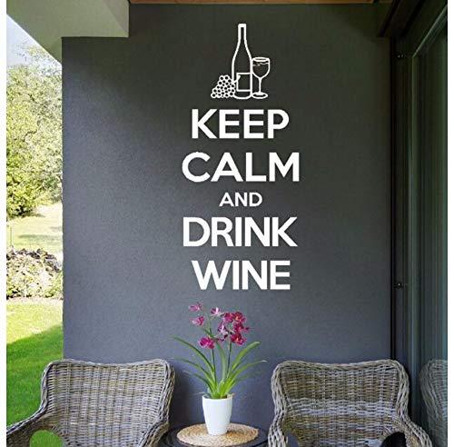 Xzfddn Wandkunstwand Behalten Sie Ruhe Und Trinken Wein Zitate Wandaufkleber Abnehmbare Küche Wandtattoos Bar Design Dekoration Fenster Kunst