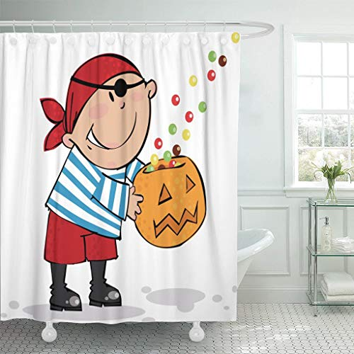 Luxuriöse Piraten Kostüm - Luancrop Duschvorhang Orange Kostüm Süßes Schmankerl Halloween Pirat Junge Herbst Schwarz Wasserdichter Polyester Stoff Set mit Haken