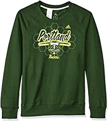 MLS Portland Timbers Womens Liquid Honeycomb French Terry Crew Sweatshirt, Medium, Dark Green
