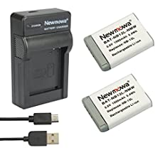Newmowa - kit de baterías de repuesto NB-13L recargables e (2-Pack2 unidades) y cargador portátil  micro USB,  Kit para Canon NB-13L, PowerShot G5X, PowerShot G7X y PowerShot G9X