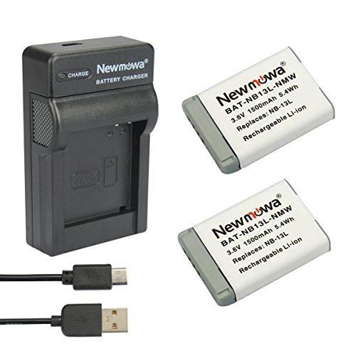 newmowa Ersatz nb-13l Batterie (2er Pack) und tragbar Micro USB Ladegerät Kit für Canon nb-13l, PowerShot G5 X, Powershot G7 X und PowerShot G9 x 2 X Akku-pack