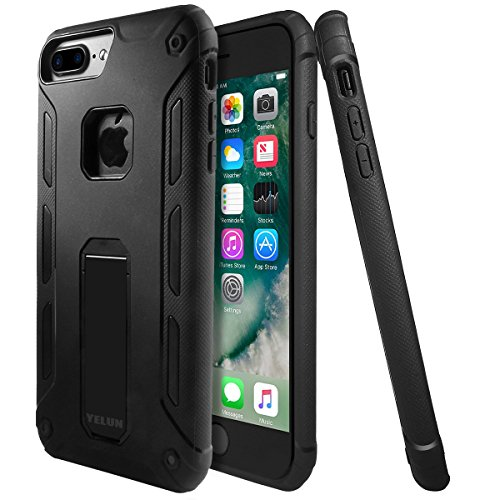 Custodia Cover iPhone 7 Plus, Yelun iPhone 7 Plus Case Ultra Slim - Inbuilt Kick Stand - Shockproof - Perfect Fit - Stylish & Lightweight - Nero Nero