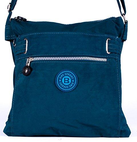 sportliche Handtasche / Schultertasche / Umhängetasche aus Nylon schwarz blau
