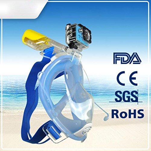 HJXJXJX Erwachsene Anti - Fog - auslaufsichere medizinische Silikon - Material Einteilige Full - Face - Schnorchelmaske dreifarbig optional, Blue, l/XL