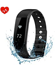 Bracelet d'activité Cardiofréquencemètre, OMorc Bracelet Connecté Sport avez Suivi de Fréquence Cardiaque Smart Band Bluetooth 4.0 avec Podomètre, Contrôle de la Musique, Alarme, Calories, Sommeil, Vibrante pour Réveil/Appel/SMS/Whatsapp pour iPhone Android Smart Phone