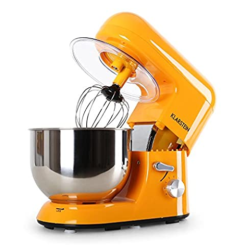 Klarstein Bella Orangina Stand Mixer • Food Processor • 1200 W • 5 Litres Stainless Steel Bowl • 6 Stage Working Speed • Die-Cast Stirring Hook • Wide Range of Accessories • Keyless Chuck for Tool Holder • Easy to Operate and Clean • Orange