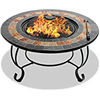 Centurion Supports Fireology DAKOTA Deluxe Garden & Patio Heater Fire Pit Brazier, Coffee Table, Barbecue and Ice Bucket with Slate Tiles