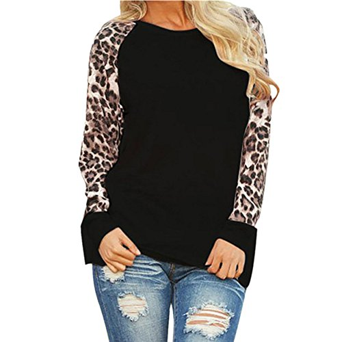 FAMILIZO Camiseta Manga Larga Mujer Tops Blusa Mujer Elegante Mujeres Blusa T-Shirt Casual Tops Primavera T-Shirt Leopardo Camiseta Mujer Larga Ropa Mujer Talla Grande Blusas (M, Negro)