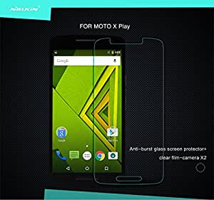 FliFit Nillkin Amazing H+ Nanometer 2.5D Curved Edge Anti-Explosion Tempered Glass Screen Protector for Motorola Moto X Play - Retail Packaging - Transparent