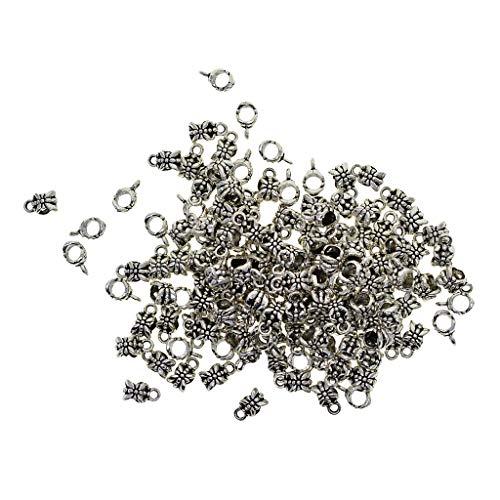 Baoblaze 100 Pièce Pendentif de Bijoux Rétro Argent Tibétain Tube avec Perles de Raccordement pour Fabrication de Bijoux