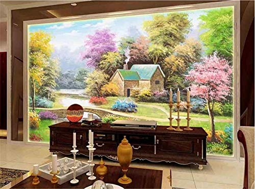 ZICI Wandaufkleber Tapete Wand Cottage Tv Hintergrund 3D Art Decal Wandbild,400 * 280 cm - Art Cottage Dekor