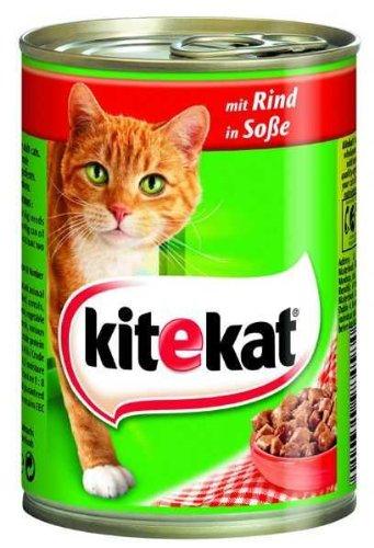 12er Pack Kitekat mit Rind in Soße 400g Katzenfutter