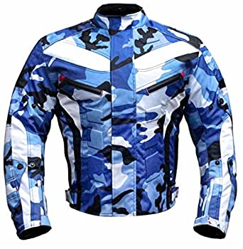 JKT-007 | Waterproof Motorbike Motorcycle Jacket in Cordura Fabric and CE Approved Armour - 6 Packs Design Most Popular (Camouflage Blue, 2X-Large)