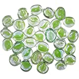 Maalavya 145 Pieces Crystalline And Translucent Shaded Glass Stone For Decorative Aquarium Fish Tank And Substrate Glass Stone Or Pebbles.(translucent Glass With Green Eye Shades) - B075T7Q93M