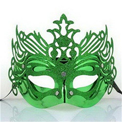Masken Gesichtsmaske Gesichtsschutz Domino falsche Front Überzug Goldkrone Männer Tanz Maske Mode Party Maske grün (Domino Maske Grüne)
