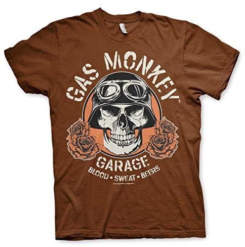 Gas Monkey Lizenziert Herren Hot Rod Skull T-Shirt (XL, Braun) - A-rod Shirt
