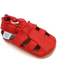 Sandales chaussures de bébé en cuir souple Red, Dotty Fish filles