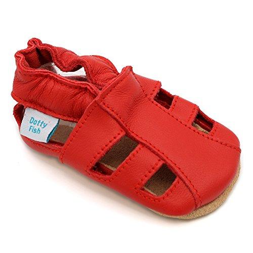 Dotty Fish Weiche Baby und Kleinkind Lederschuhe. Jungen und Mädchen. Rote Sandalen. 6-12 Monate (19 EU)