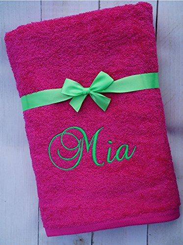 ★ Duschtuch mit Namen bestickt ★ Handtuch ★ Geschenk mit Schleife ★ 550 g/m2 ★ (Pink, 70 x 140 cm)