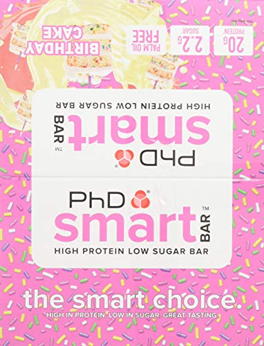PhD Smart Bar-High Protein Low Sugar Bar, Birthday Cake, 64 g, Pack of 12, 12x64 g Bars, 12 Bars