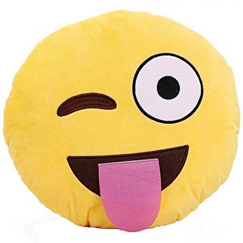 Rainbow Fox Plüschtier Emoticon Emoji Gelb Emotions-Icon Emojilisiert Kissen Zierkissen Dekoratives Wurfkissen