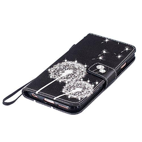 Custodia iPhone 7 Plus, iPhone 7 Plus Cover, ikasus® iPhone 7 Plus Custodia Cover [PU Leather] [Shock-Absorption] Colorato verniciato con Bling Brillante scintillante Gitter Strass Protettiva Portafog Dente di leone