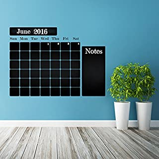 AnOL (100x75 cm) Chalkboard Vinyl Wall Decal Calendar with Notes/Blackboard Month Planner Sticker for Drawing/Erasable Mural + Free Crayons Box