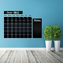 (100x 75cm) vinilo para pared de pizarra de vinilo CALENDARIO con notas/Pizarra Planificador Mensual Adhesivo para dibujo/Borrar Mural + Gratis de ceras Box