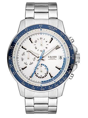 s.Oliver Reloj Multiesfera para Hombre de Cuarzo con Correa en Acero Inoxidable SO-3485-MM