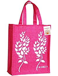 INDOZY Jute Bag for Lunch Tiffin for Men Women Girl Office with Zip Pocket and Water Bottle Holder Carry Bag Reusable Multipurpose Tote Pink Leaf2