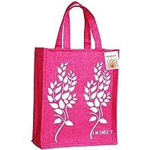 INDOZY Jute Bag for Lunch Tiffin for Men Women Girl Office with Zip Pocket and Water Bottle Holder Carry Bag Reusable Multipurpose Tote Pink Leaf2