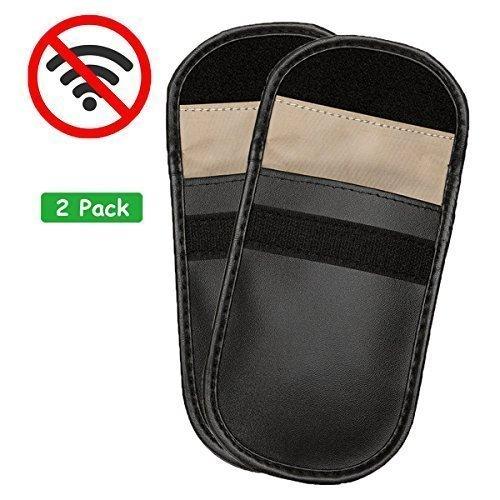 Wemk 2 Pack Car Key Signal Blocker Case Keyless Entry Fob Guard Faraday Bag Signal GSM Blocking Case Pouch