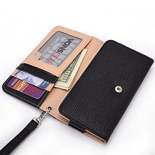 Kroo Pochette Téléphone universel Femme Portefeuille en cuir PU avec dragonne compatible avec protection d'écran Ctrl V5/Pioneer P4 Bleu - bleu noir - noir