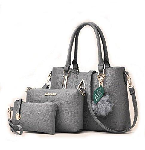 HQYSS Borse donna Le donne cuoio dell'unità di elaborazione di spalla portatile Messenger Bag Semplice selvaggio spalla pochette borsa Set di 3 , rubber powder light gray