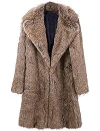 Toamen Hombres Abrigo largo engrosamiento cálido Cárdigan de punto con parka de piel sintética