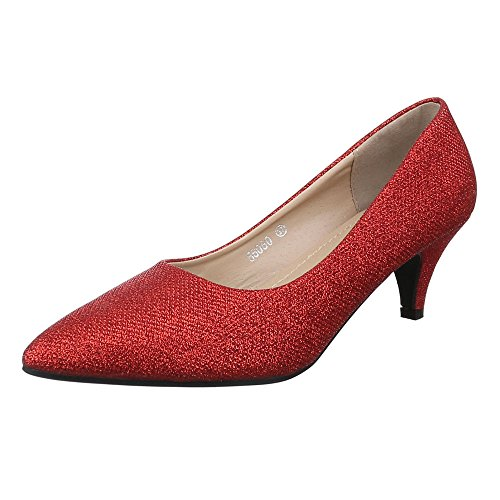 Damen Schuhe, 56080, Pumps, Glitter, Synthetik, Rot, Gr 39