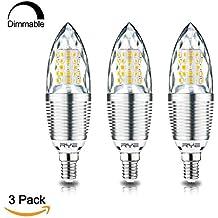 Rye Tech Bombilla LED regulable E14, Bombillas LED Candelabro 12W, equivalente de bombilla incandescente de 100W, Blanco cálido 3000K, Paquete de 3