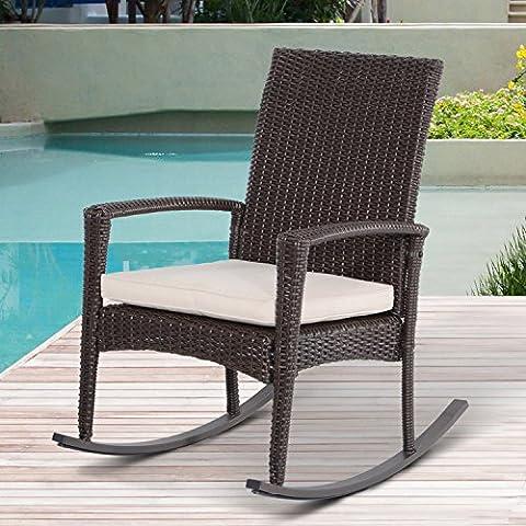 Outsunny Rattan Rocking Chair Rocker Garden Furniture Seater Patio Bistro